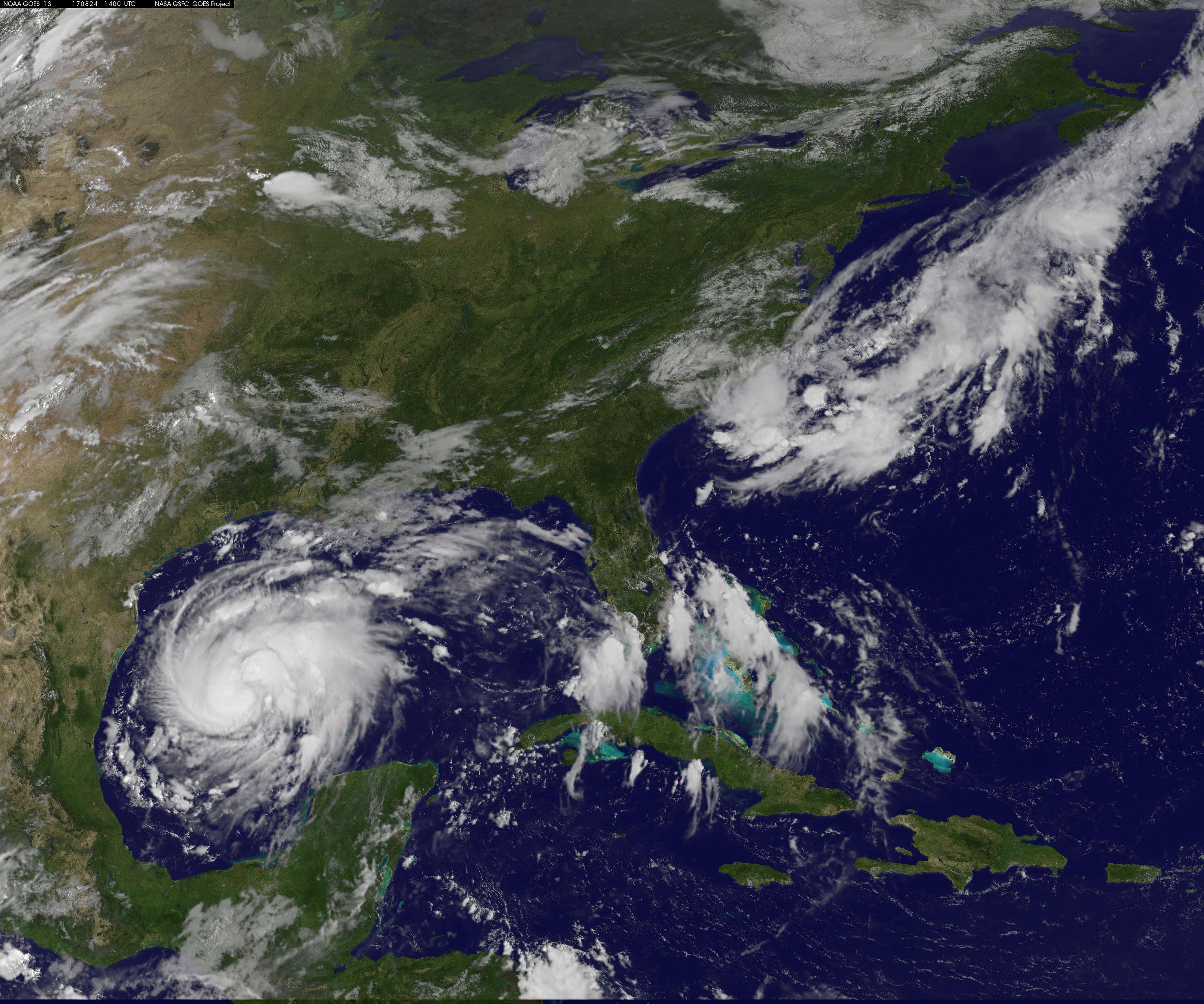 Tropical Storm Harvey approaching the Texas Gulf Coast. (NOAA/via Reuters)