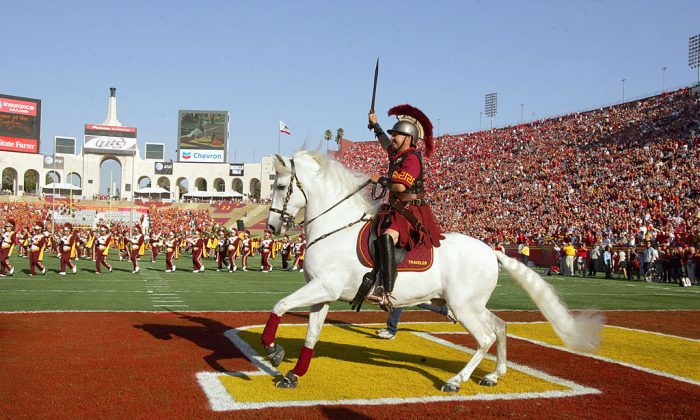 Traveler, mascot of the USC Trojans runs on the field before the game against the Nebraska Cornhuskers. (Photo by Stephen Dunn/Getty Images)