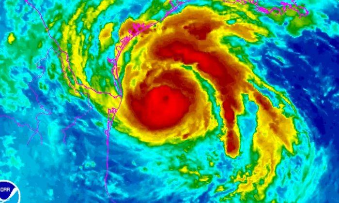 Screenshot shows path of hurricane Harvey(NOAA)