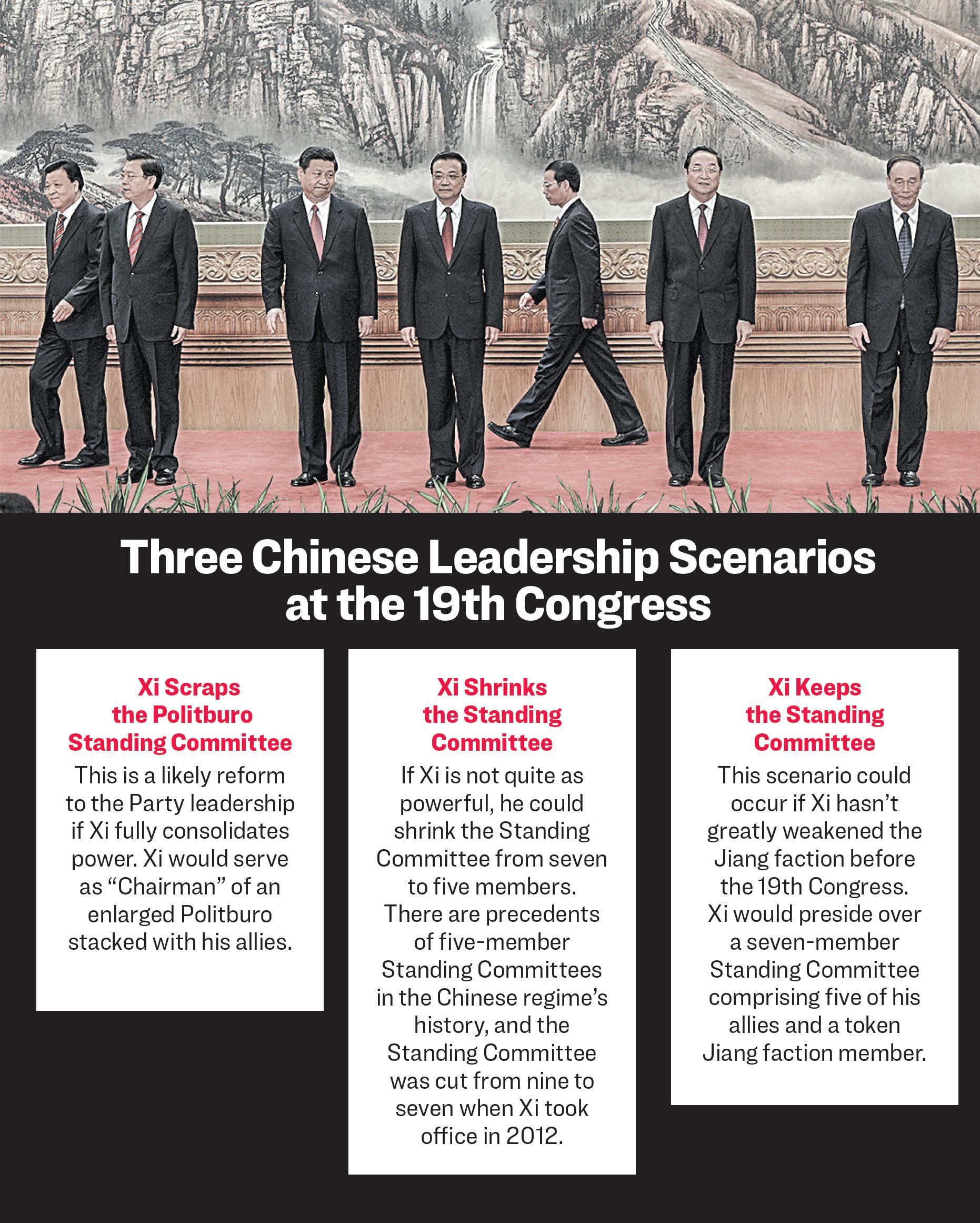 The Communist Party of China's new Politburo Standing Committee, the nation's top decision-making body (L-R) Liu Yunshan, Zhang Dejiang, Xi Jinping, Li Keqiang, Zhang Gaoli, Yu Zhengsheng and Wang Qishan meet the press at the Great Hall of the People in Beijing on Nov. 15, 2012. (MARK RALSTON/AFP/Getty Images)