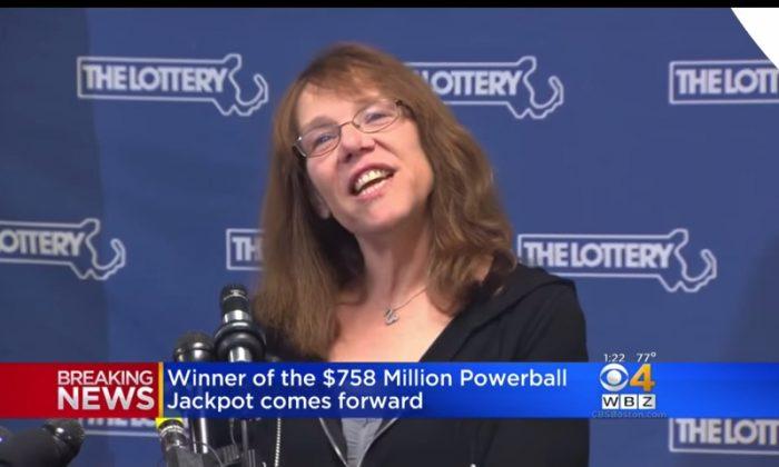 Powerball jackpot winner Mavis Wanczyk of Chicopee, Massachusetts. (Screenshot via YouTube/CBS Boston)