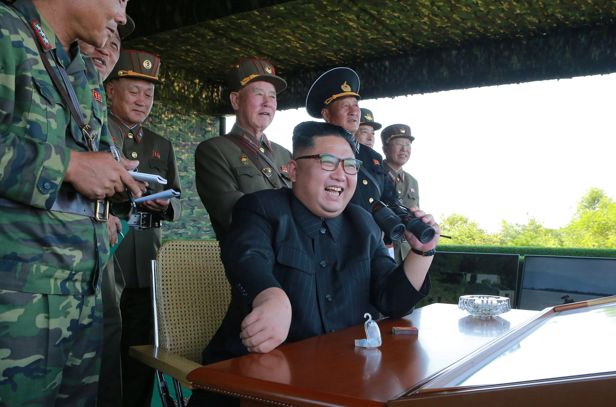 North Korean leader Kim Jong Un guides a target-striking contest of the special operation forces of the Korean People's Army (KPA) to occupy islands in this undated picture provided by KCNA in Pyongyang on Aug. 25, 2017. (KCNA via Reuters)