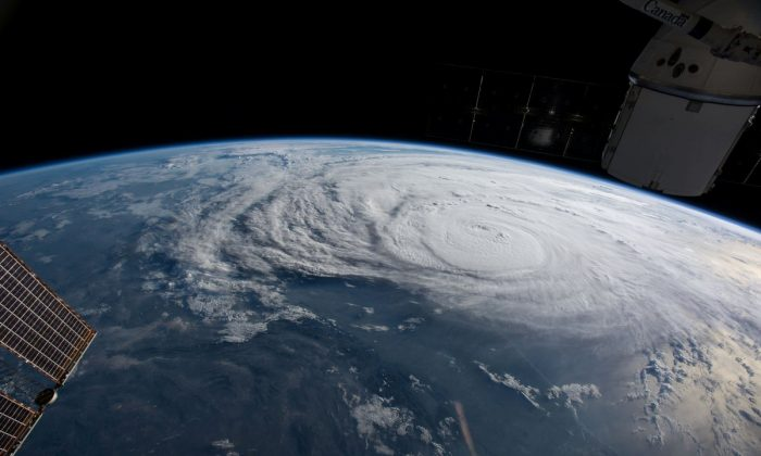 Hurricane Harvey is pictured off the coast of Texas, from aboard the International Space Station. (NASA/Handout via REUTERS)