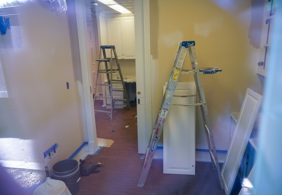 Ladders are seen inside of a press office in the West Wing of the White House as it undergoes renovations on Aug. 9, 2017. (MANDEL NGAN/AFP/Getty Images)