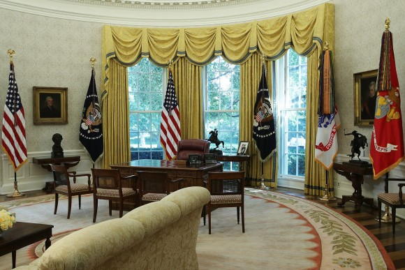 The Oval Office of the White House after renovations, including new wallpaper, on Aug. 22, 2017. (Alex Wong/Getty Images)