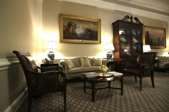 The West Wing lobby of the White House after renovations on Aug. 22. (Alex Wong/Getty Images)