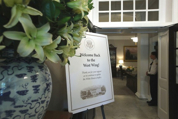 A welcome sign at the entrance of the West Wing at the White House August following renovations on Aug. 22, 2017. (Alex Wong/Getty Images)