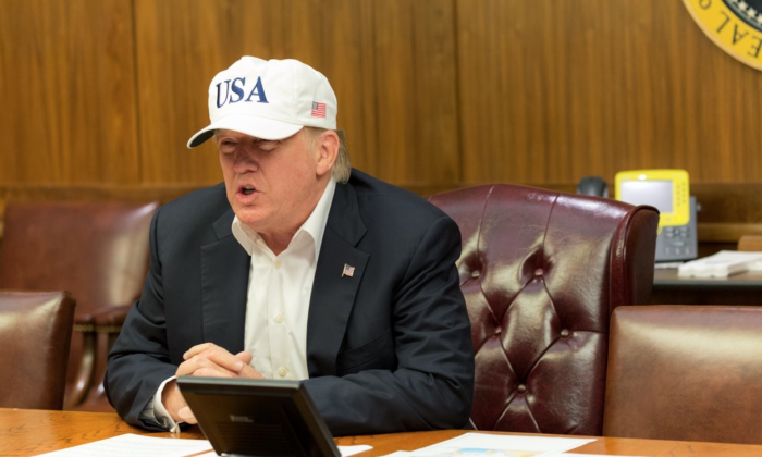 President Donald Trump conducts a video teleconference regarding an update on Hurricane Harvey, on Aug. 26, 2017, from a conference room at Camp David. The president has been closely overseeing the federal response and relief efforts for Texas. (Official White House Photo by Shealah Craighead)