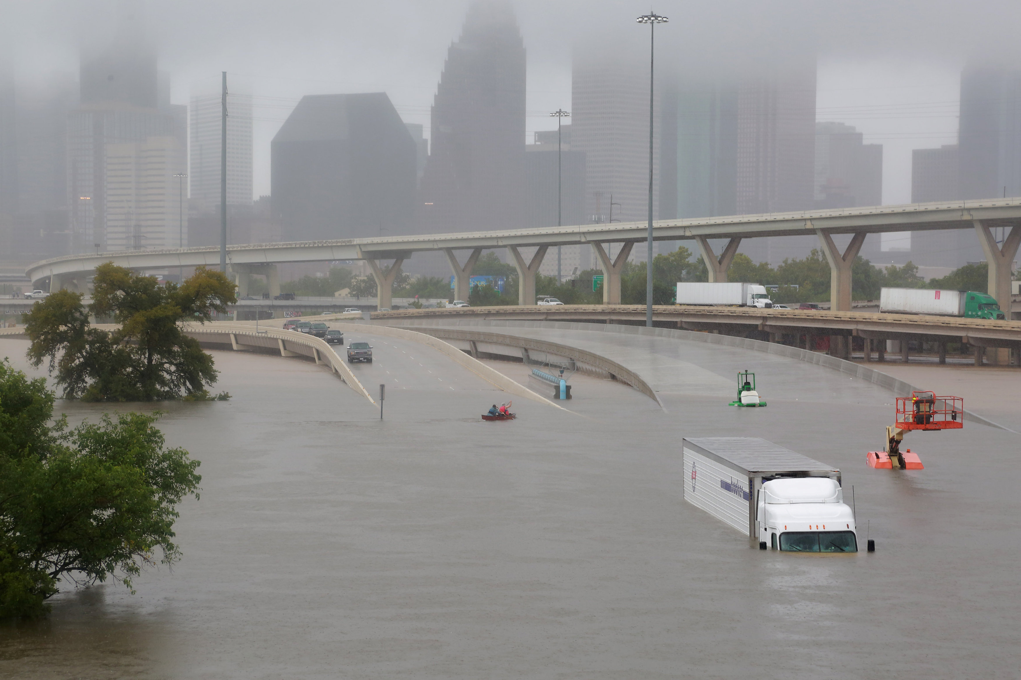 Interstate highway 45 is submerged from the effects of Hurricane Harvey seen during widespread flooding in Houston, Texas on Aug. 27, 2017. (REUTERS/Richard Carson)