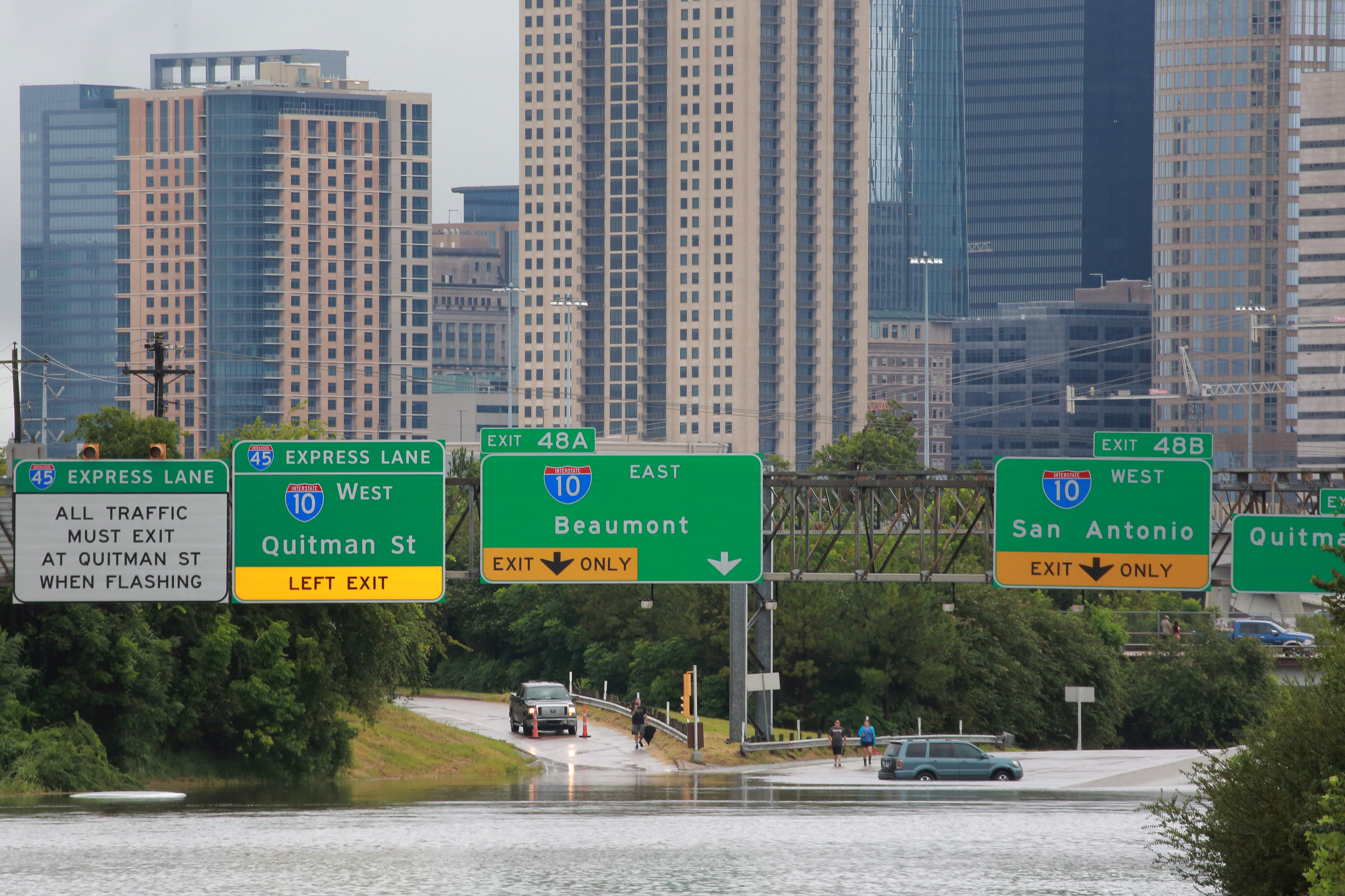 Interstate highway 45 is submerged in Houston. (REUTERS/Richard Carson)