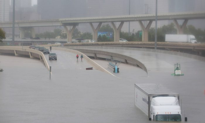 Interstate highway 45 is submerged from the effects of Hurricane Harvey seen during widespread flooding in Houston, Texas, U.S. on Aug. 27, 2017. (REUTERS/Richard Carson)
