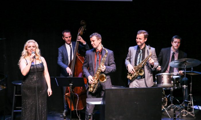 """The """"Songbook Summit"""" at 59E59 Theater, with (L–R) Molly Ryan on vocals, Clovis Nicolas on base, Peter Anderson and Will Anderson on saxophones,and drummer Phil Stewart. (Lynn Redmille)"""