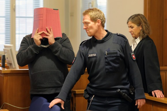 Niels H. arrives for his trial at court on November 27, 2014 in Oldenburg, Germany. (Markus Hibbeler/Getty Images)