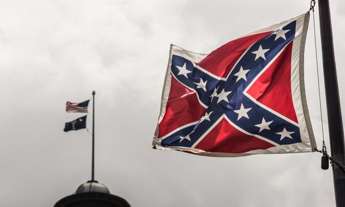 The Confederate battle flag flies at the South Carolina state house grounds in Columbia, S.C., on July 8, 2015.  (Sean Rayford/Getty Images)