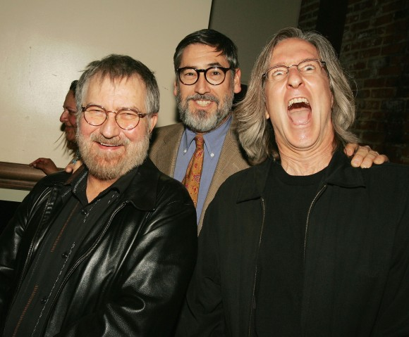 """Directors Tobe Hooper (L), John Landis, and Mick Garris pose at a party to celebrate Showtime's series """"Masters of Horror"""" on March 30, 2005 in Los Angeles, California.  (Kevin Winter/Getty Images)"""