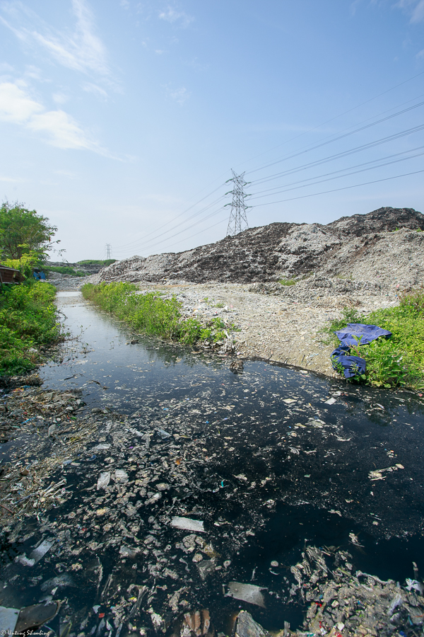 Water along the shore of the Ciujung River, where pulp and paper mill PT Indah Kiat dumps its waste. Local residents have protested the company's pollution of their main water source. (Indonesian Center for Environmental Law)