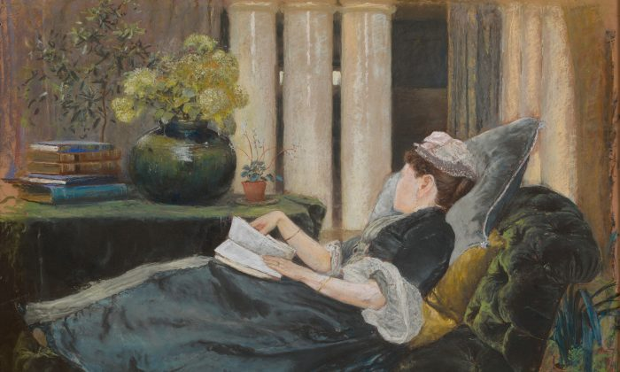 """Louise Tiffany, Reading,"" 1888 by Louis Comfort Tiffany (1848–1933). Pastel on buff colored wove paper, 20–1/2 inches by 30–1/4 inches. The Metropolitan Museum of Art, Gift of the family of Dorothy Tiffany Burlingham, 2003 (The Metropolitan Museum of Art)"