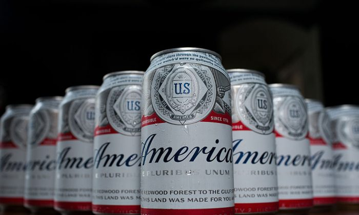 In this photo illustration, A cans of Budweiser, rebranded as 'America,' sit on a table, May 23, 2016, in Washington, DC. As part of an advertising campaign, cans and bottles of Budweiser will be labeled as 'America' instead of 'Budweiser' from now until the November 4th election. (Drew Angerer/Getty Images)