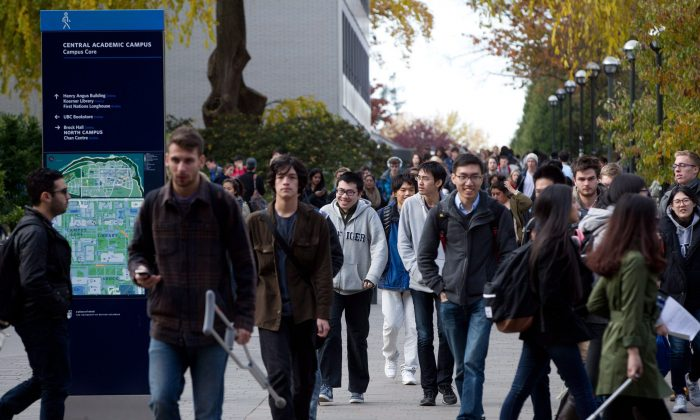 Students walk on the campus at the University of British Columbia in Vancouver in this file photo. (The Canadian Press/Darryl Dyck)