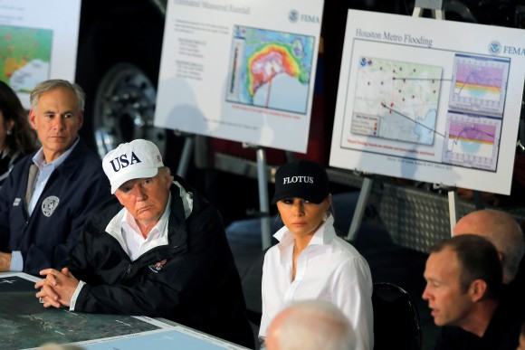 President Donald Trump and first lady Melania Trump receive a briefing on Tropical Storm Harvey relief efforts in Corpus Christi, Texas. (Reuters/Carlos Barria)