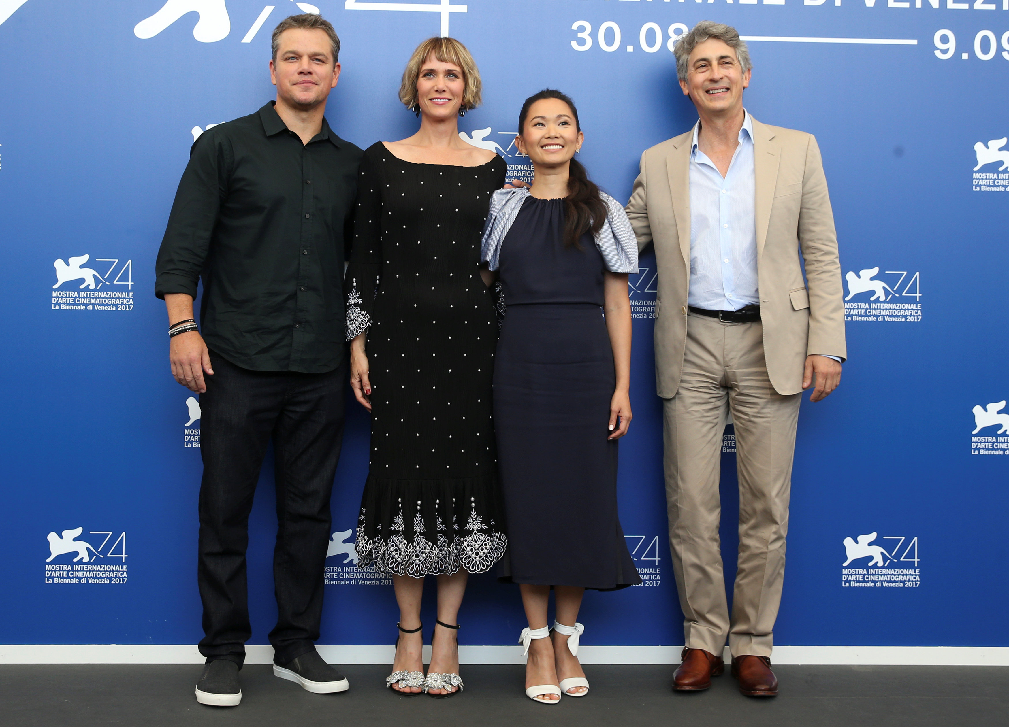 "Director Alexander Payne poses with actors Matt Damon, Kristen Wiig and Hong Chau during a photocall for the movie ""Downsizing"" at the 74th Venice Film Festival in Venice, Italy on Aug. 30, 2017. (REUTERS/Alessandro Bianchi)"