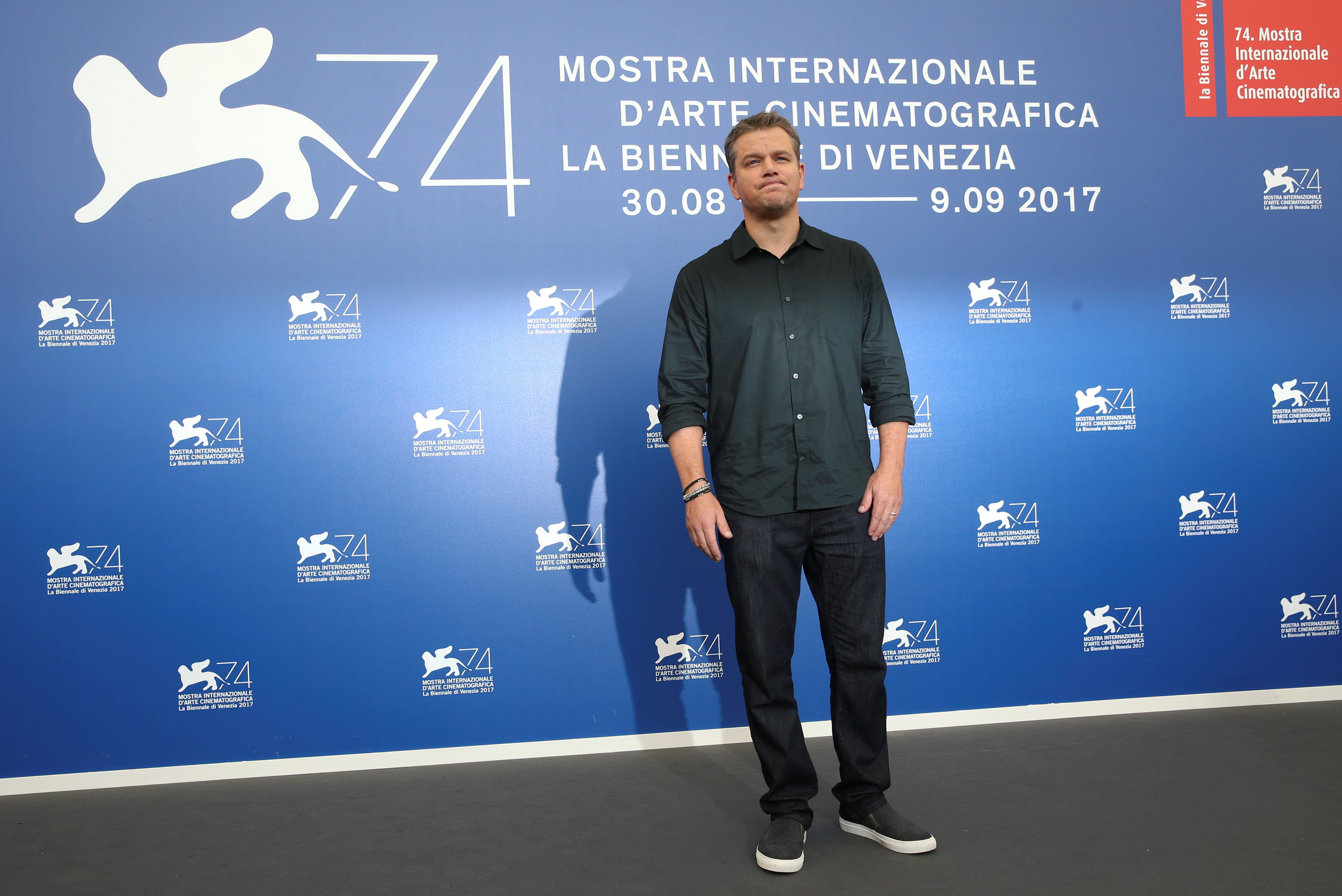 "Actor Matt Damon poses during a photocall for the movie ""Downsizing"" at the 74th Venice Film Festival in Venice, Italy on Aug. 30, 2017. (REUTERS/Alessandro Bianchi)"