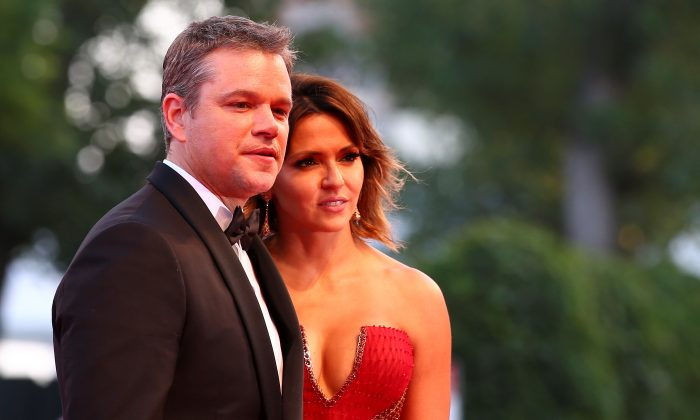 "Actor Matt Damon and his wife Luciana pose during a red carpet for the movie ""Downsizing"" at the 74th Venice Film Festival in Venice, Italy on Aug. 30, 2017. (REUTERS/Alessandro Bianchi)"