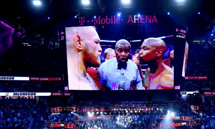 A general view before the Floyd Mayweather Jr. and Conor McGregor super welterweight boxing match on August 26, 2017 at T-Mobile Arena in Las Vegas, Nevada. (Photo by Sean M. Haffey/Getty Images)