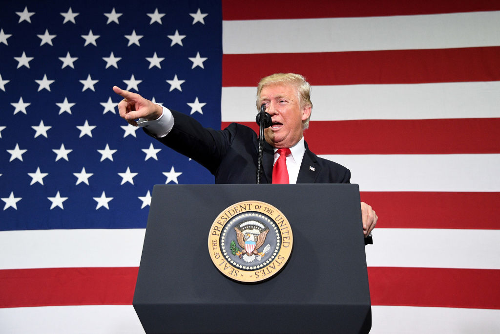 President Donald Trump participates in a tax reform kickoff event at the Loren Cook Company in Springfield, Mo., on Aug. 30, 2017. (JIM WATSON/AFP/Getty Images)
