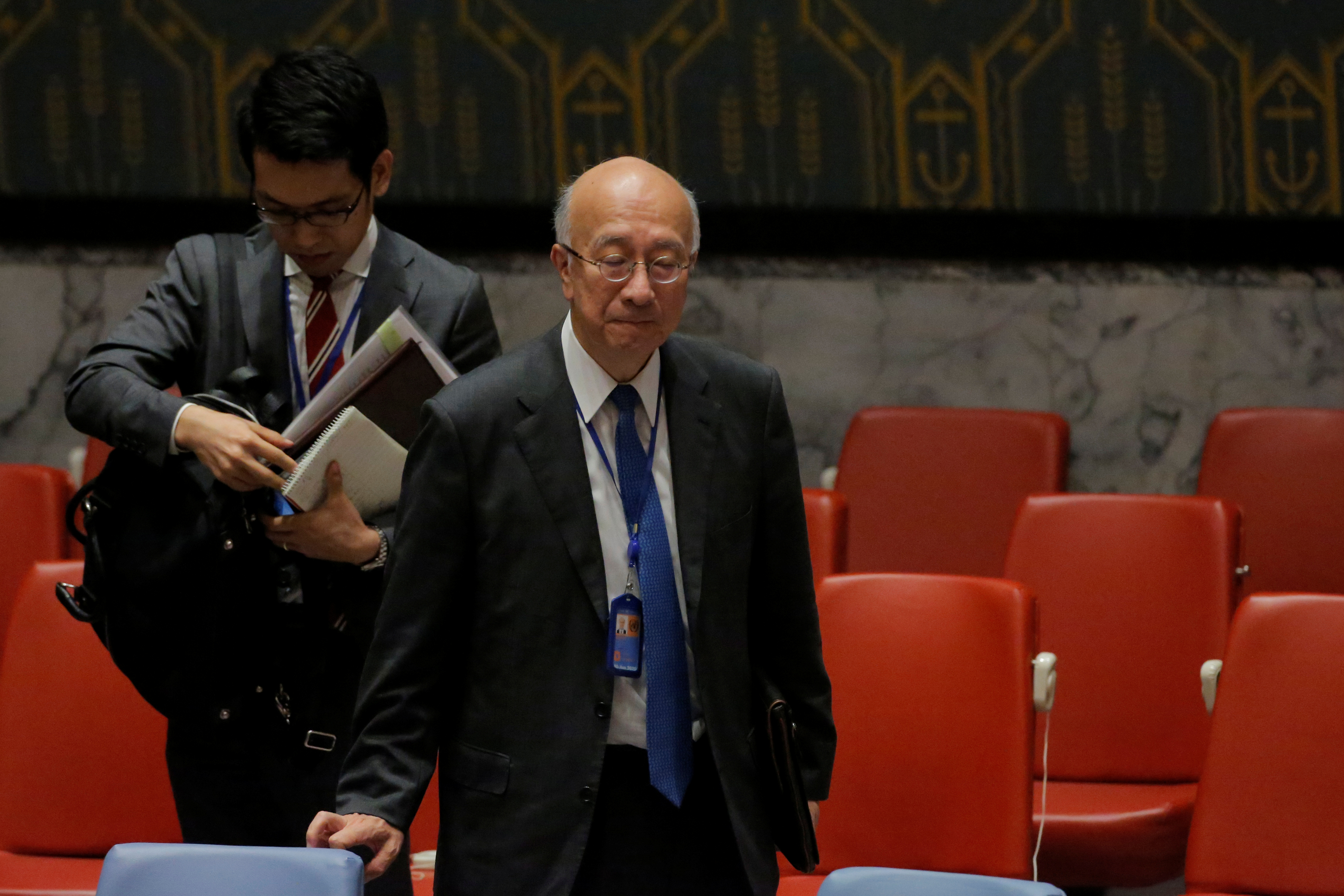 Japan's U.N. Ambassador Koro Bessho stands following a meeting by the United Nations Security Council on North Korea at the U.N. headquarters in New York City on Aug. 29, 2017.  (REUTERS/Andrew Kelly)