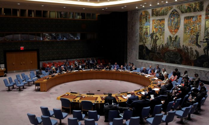 The United Nations Security Council sits to meet on North Korea after their latest missile test, at the U.N. headquarters in New York City on Aug. 29, 2017.  (Andrew Kelly/Reuters)