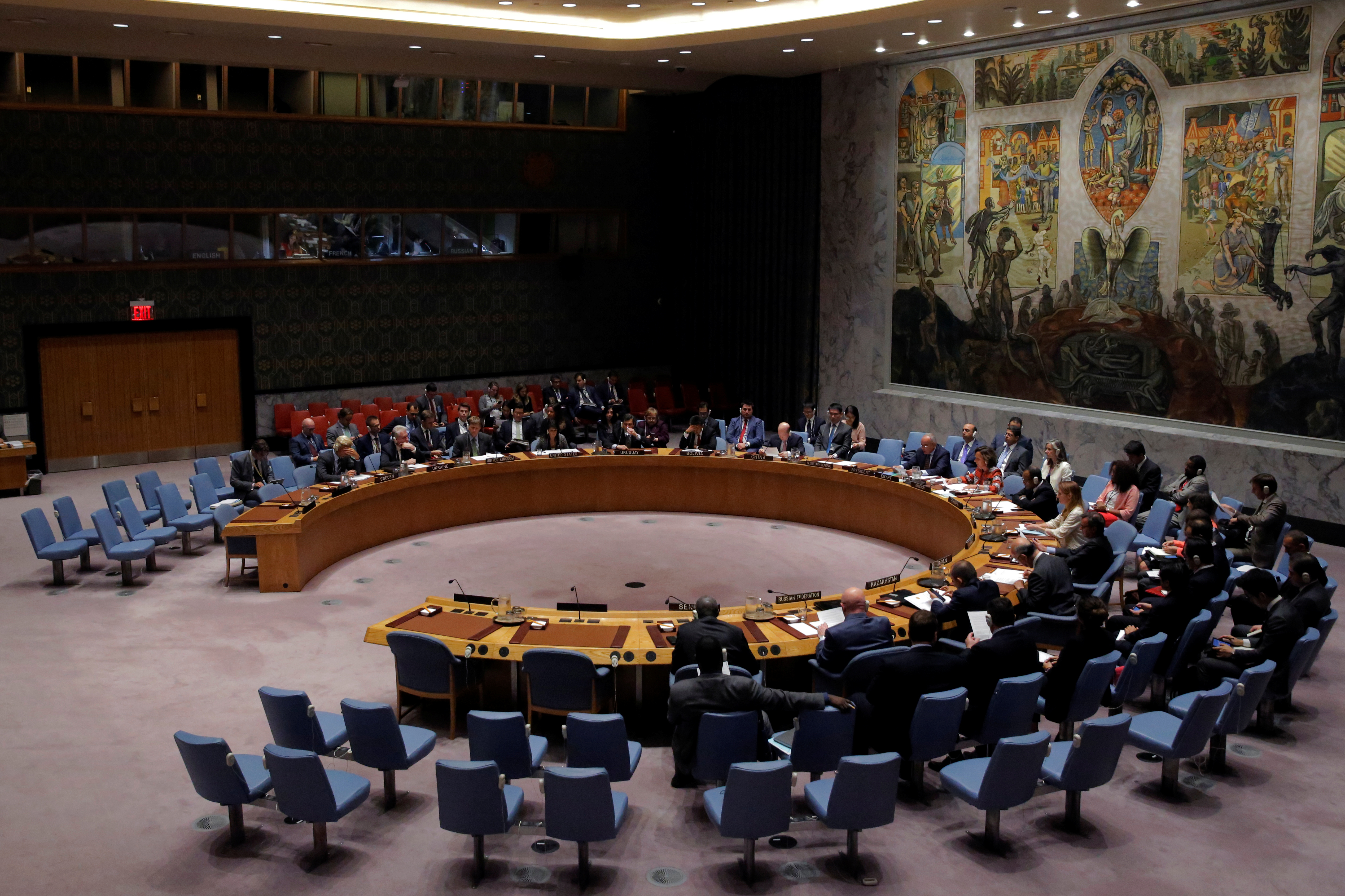 The United Nations Security Council sits to meet on North Korea after their latest missile test, at the U.N. headquarters in New York City on Aug. 29, 2017.  (REUTERS/Andrew Kelly)