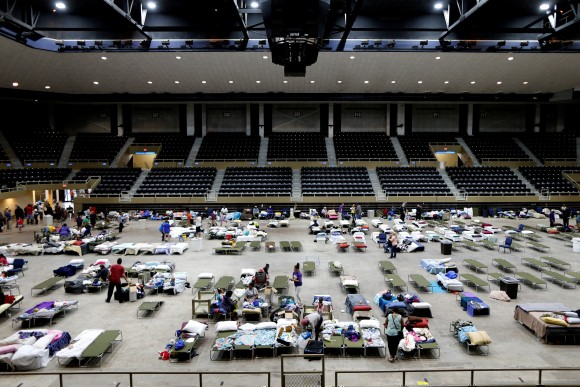 Evacuees from Tropical Storm Harvey fill the Lake Charles Civic Center in Lake Charles, Louisiana, U.S., on August 30, 2017. (REUTERS/Jonathan Bachman)