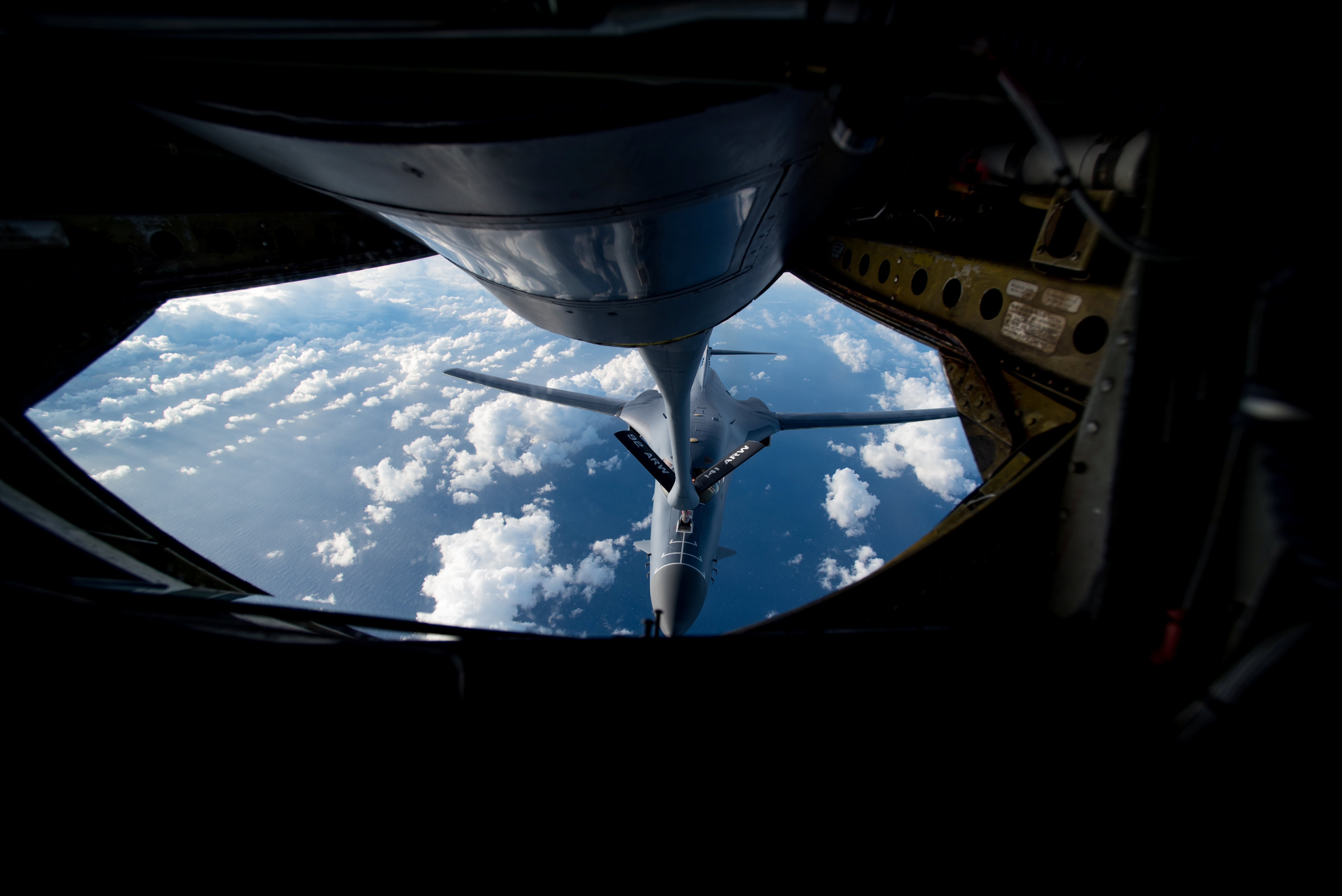 A U.S. Air Force B-1B Lancer receives fuel from a KC-135 Stratotanker during a 10-hour mission from Andersen Air Force Base, Guam, into Japanese airspace and over the Korean Peninsula on July 30, 2017. (Airman 1st Class Jacob Skovo/U.S. Air Force photo/Handout via REUTERS)