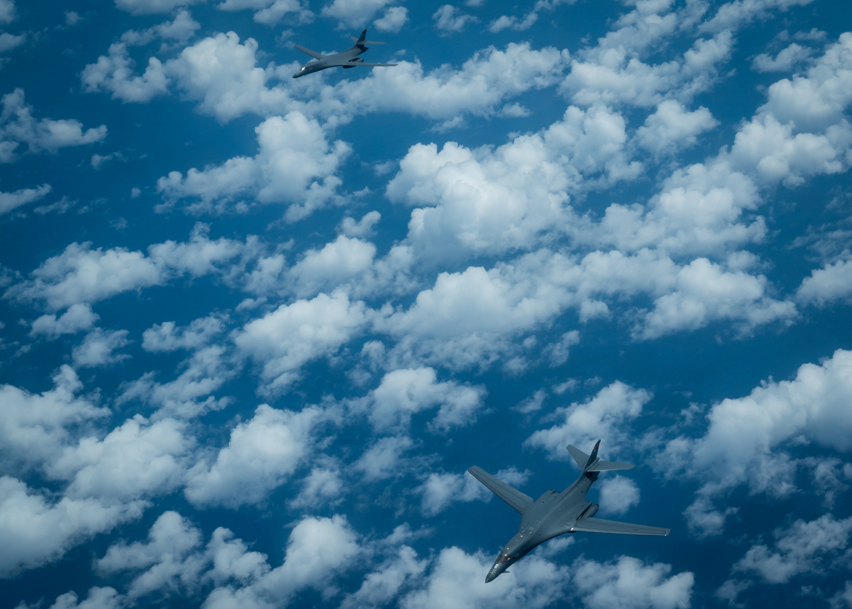U.S. Air Force B-1B Lancer fly a mission from Andersen Air Force Base, Guam, into Japanese airspace and over the Korean Peninsula on Aug. 31, 2017. (Staff Sgt. Joshua Smoot/U.S. Air Force/Handout via REUTERS)