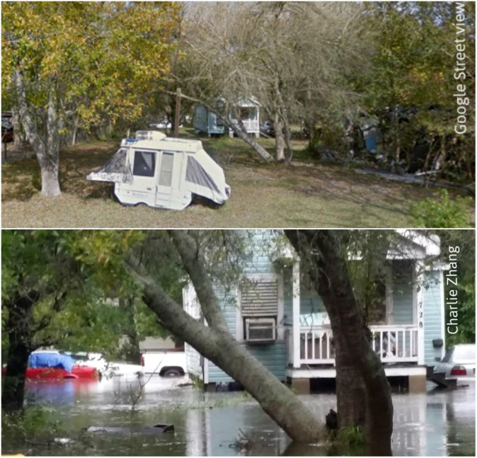 Property in Rosharon, Texas, before and after Harvey flooding. (Google Street View/Charlie Zhang)