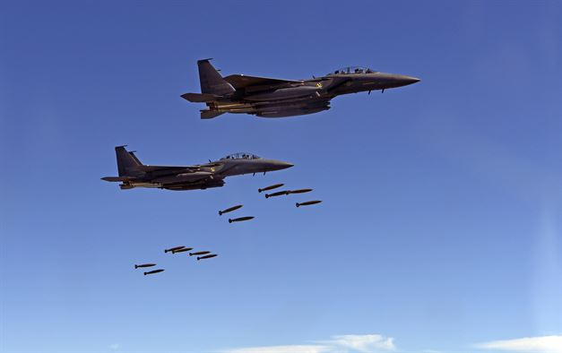 Republic of Korea F-15K fighters drop munitions over Pilsung Range  (US Pacific Command)