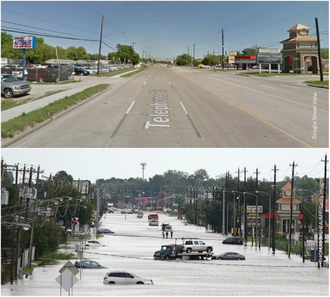 Before and after Harvey at Telephone Rd, Houston. (Google Street View/THOMAS B. SHEA/AFP/Getty Images)