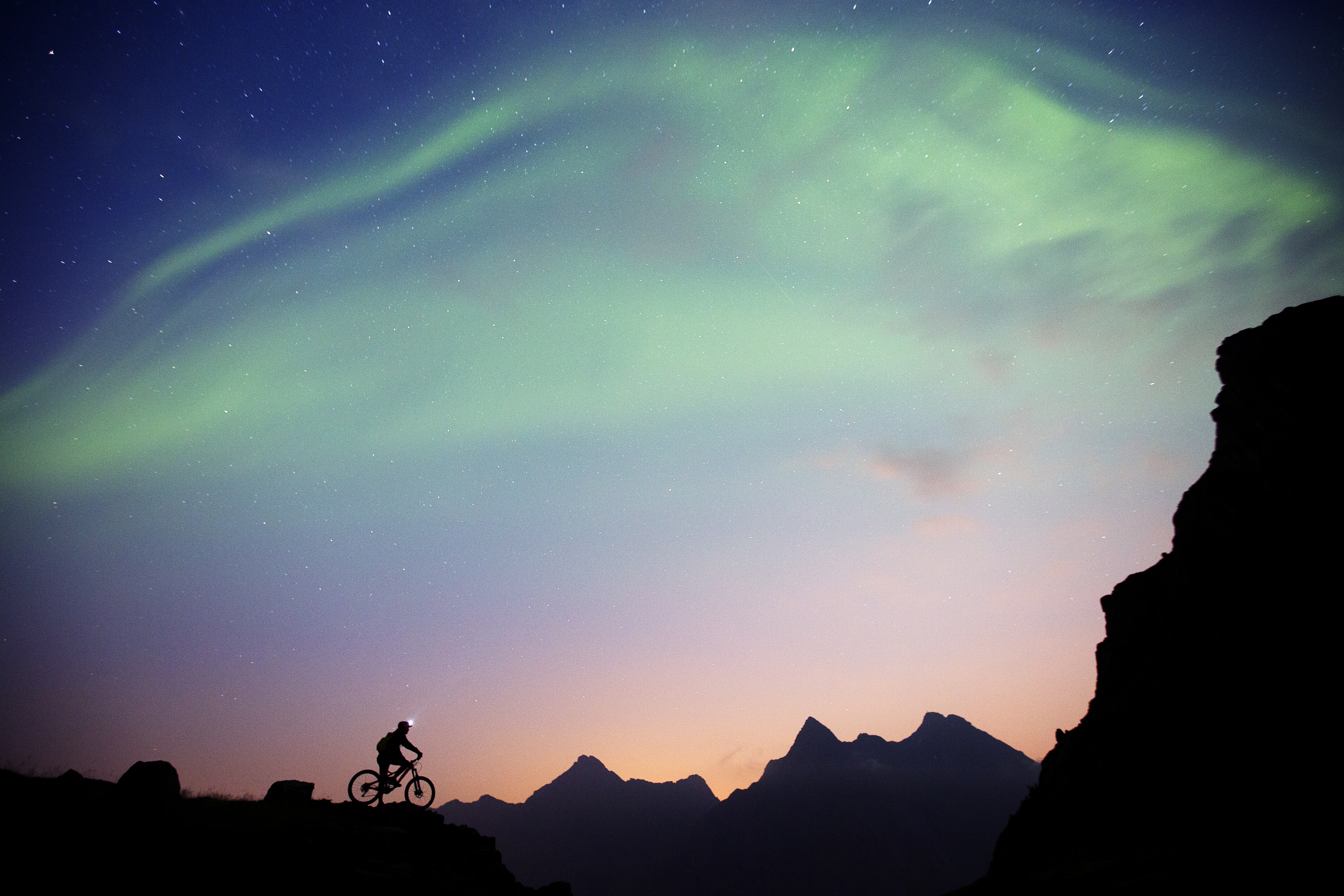 Athlete bikes on the Lofoten, Norway on Sept. 5th 2014. (Frode Sandbech/Red Bull Content Pool)