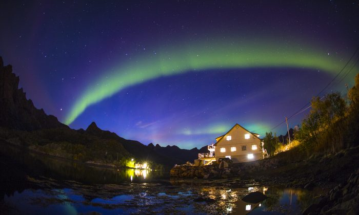 The northern lights show off in Unstad, Lofoten, Norway on Sept. 22, 2015. (Mats Grimsæth / Red Bull Content Pool)