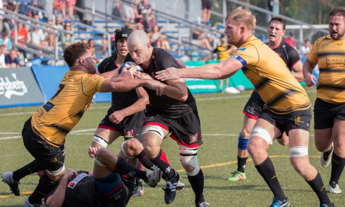 Valley substitute Lock shows good strength in this acttion from the Valley vs Tigers match at the Premiership Super Saturday, at King's Park on Saturday Sept 23, 2017. (Dan Marchant)