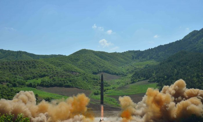 The intercontinental ballistic missile Hwasong-14, in this photo released July 4, 2017.  (KCNA/via REUTERS)