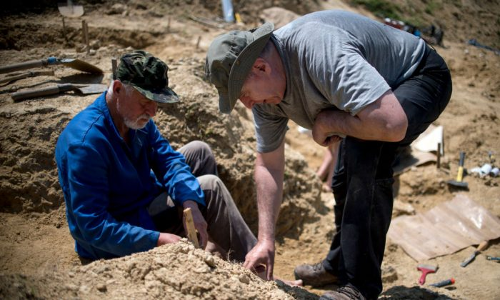 Professor Nikolay Spassov (R) works near the site where a fossilised tooth with three roots was found in 2002, near the village of Rupkite, central Bulgaria, on June 07, 2017. (NIKOLAY DOYCHINOV/AFP/Getty Images)