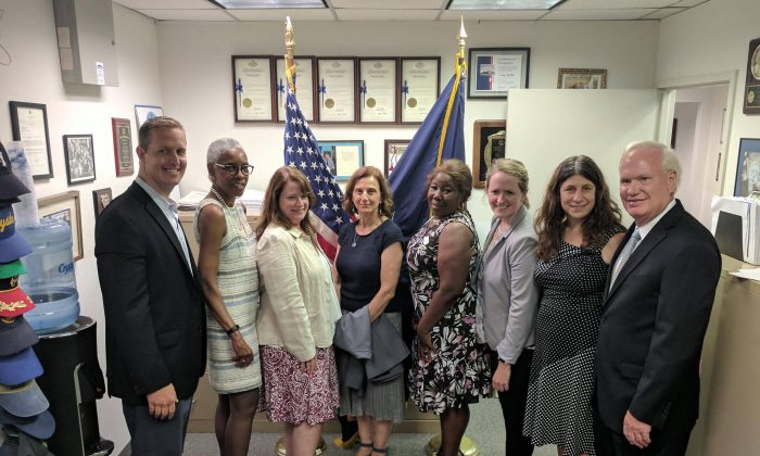 From Left to Right: AM Hevesi, Dianne Heggie, Rachel Tzimorewtas, Harriet Lessel, Claudette Horry, Kari Siddiqui, Stephanie Gendell, Senator Avella. (Senator Tony Avella's Office)