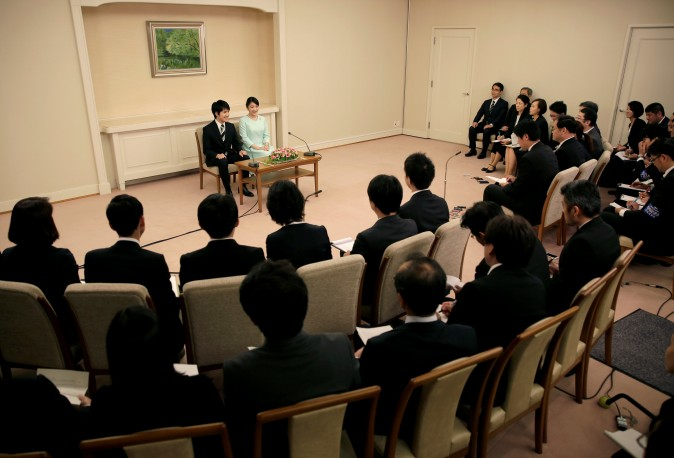 Princess Mako, the elder daughter of Prince Akishino and Princess Kiko, speaks to media with her fiancee Kei Komuro, a university friend, during a press conference to announce their engagement at Akasaka East Residence in Tokyo, Japan on September 3, 2017. (REUTERS/Shizuo Kambayashi/Pool)