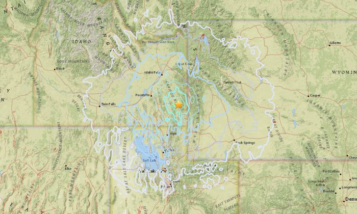 A map of the 5.3 magnitude earthquake that hit Idaho on Sept.2. (Screenshot via United States Geological Survey)