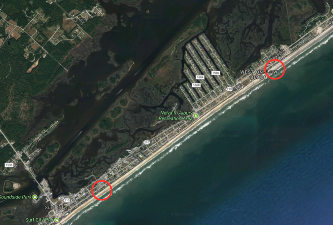 The area in Surf City, N.C., where Zachary Kingsbury escaped police (bottom circle) and (top circle) where he was apprehended three hours later in North Topsail Beach, N.C., on Aug. 30, 2017. (Screenshot via Google Maps)