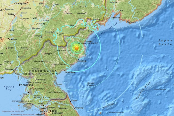 The site of the purported North Korean nuclear test.  (USGS)