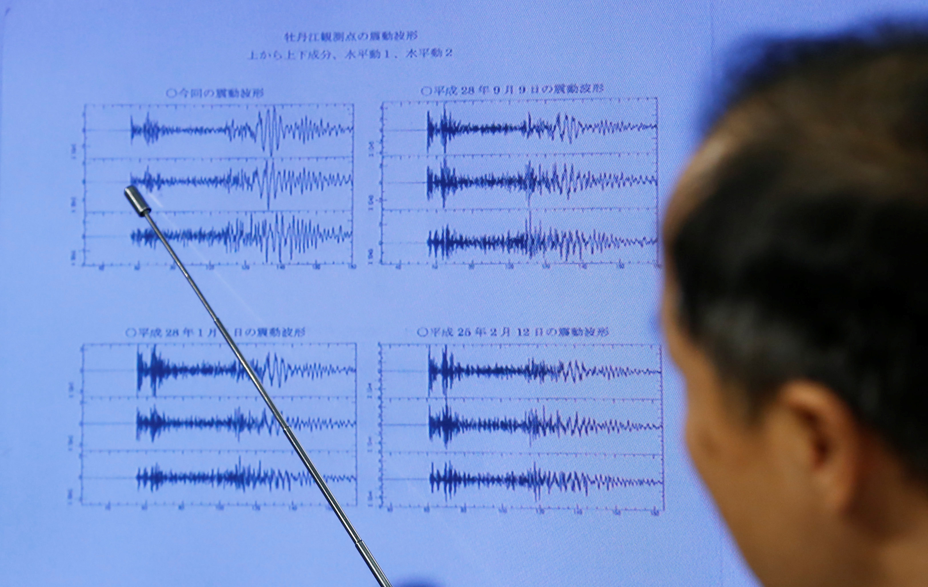 Japan Meteorological Agency's earthquake and tsunami observations division director Toshiyuki Matsumori points at graphs of ground motion waveform data observed in Japan during a news conference at the Japan Meteorological Agency in Tokyo, Japan, on Sept. 3, 2017, following the earthquake felt in North Korea and believed to be a nuclear test. (REUTERS/Toru Hanai)