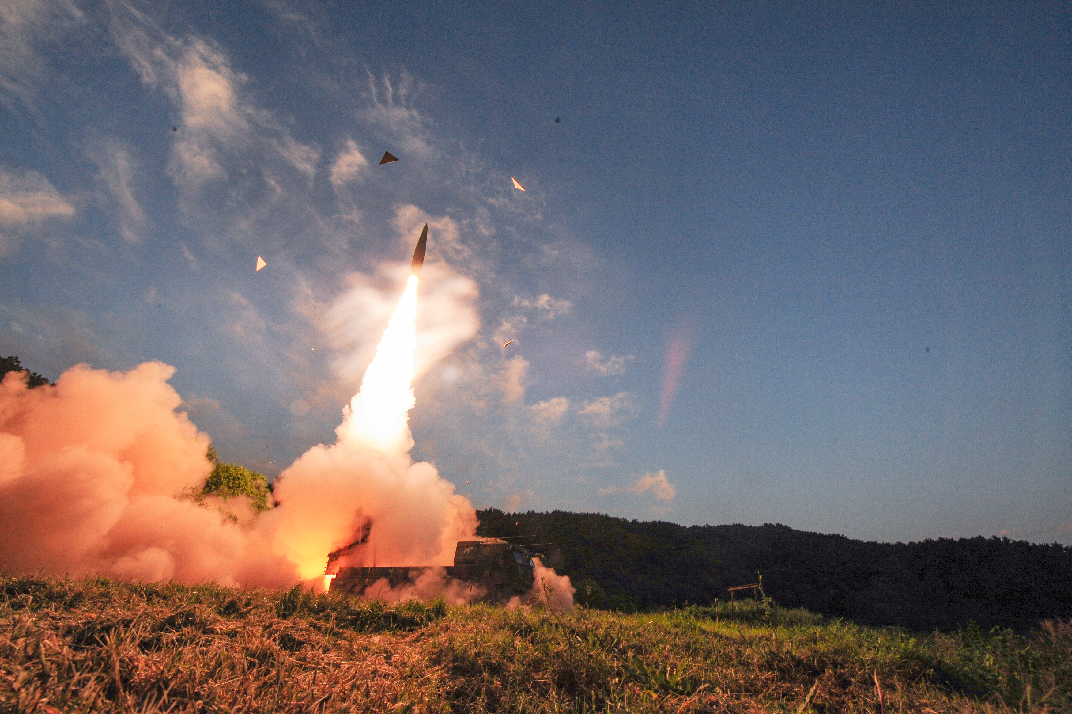 South Korean troops fire Hyunmoo Missile into the waters of the East Sea at a military exercise in South Korea on Sept. 4, 2017. (Defense Ministry/Yonhap/via REUTERS)
